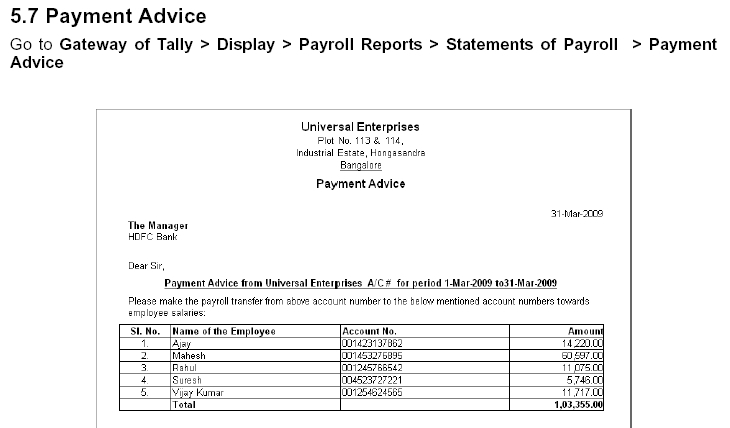 Great Payment Advice In TallyERP9 Intended For Pay Advice Template