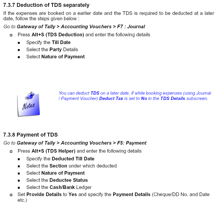 Tax Deducted at Source (TDS) in Tally ERP 9, ERP, Accounting